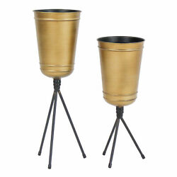 Set of 2 Contemporary Metal Planter Indoor Plant Holder Accent Decor Gold Finish $70.05
