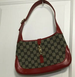 GUCCI Jackie GG Pattern Hand Bag Purse Canvas Leather $499.99