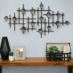 Contemporary Rustic Metal Wood Wall Sculpture Abstract Geometric Accent Decor $73.76