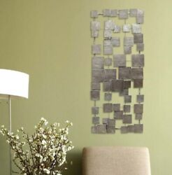 Contemporary Metal Geometric Tiles Wall Sculpture Abstract Hanging Accent Decor $63.90