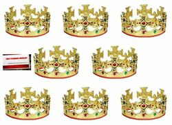 8 Pack Gold Jeweled Royal Majestic King Crowns Adjustable Plus Party Plann... $21.38