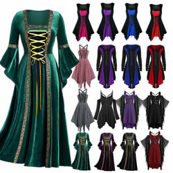 Womens Retro Gothic Witch Cosplay Costume Lace Up Victorian Medieval Fancy Dress $38.56