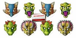 Dinosaur Party Masks With Elastic Strap 8 Masks Plus Party Planning Checklis... $15.30
