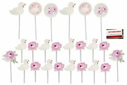 Pink Sweet Swan Cake Cupcake Toppers 24 Pack Plus Party Planning Checklist ... $13.01