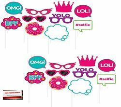 Girls Birthday Sleep Over 20 pcs Party Photo Booth Props Plus Party Planni... $15.86
