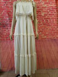 Vintage 60s Vicky Vaughn Ivory Maxi Women#x27;s Tiered size S? B1 $22.00