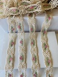 2 Yards Gold amp; Light Pink Embroidered Ribbon Lace Trim Sewing Crafts Bridal 1quot; W $8.45