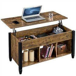Rustic Style Lift Top Coffee Table w Hidden Storage amp; Shelves For Living Room $126.99