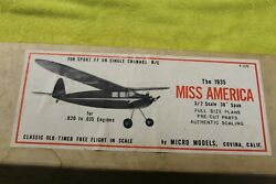 Micro Models Miss America Balsa Plane Kit 36quot; Vintage $95.00