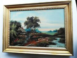 Antique Oil Painting Signed by E. Coler Late 19th Century Farm Country RARE $199.00