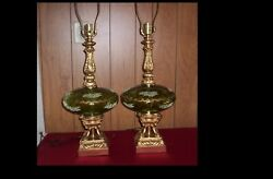 Vintage Pair 70#x27;s Green Glass Globe Table Lamps Mid Century W Gold Filigree $130.00