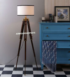 Antique Nautical Floor Shade Lamp Brown Tripod Stand Home Decor $85.00