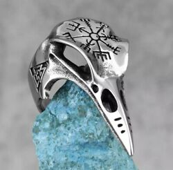 Nordic Mythology Viking Crow Retro Stainless Steel Mens Rings Size 11 $4.99