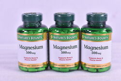 LOT OF 3 Nature#x27;s Bounty Magnesium 500mg 200 Coated Tablets 600 TOTAL EXP:06 22 $23.99