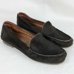 Cole Haan Italy Womens Calf Hair Loafers 9.5 AA Brown Moc Toe Slip On Shoes $25.99