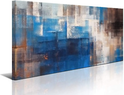 Blue Abstract Wall Art Canvas Print Picture for Living Room Large Blue Gray Brow $57.49