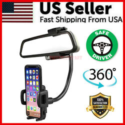 Universal 360° Car Rearview Mirror Mount Stand Holder Cradle For Cell Phone GPS $8.49
