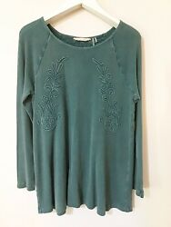 Soft Surroundings Womens Size 1X Green Waffle Knit Top Camden Floral $29.95