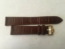 18mm Brown Leather Band with Yellow Gold Buckle For Omega Watch $48.00