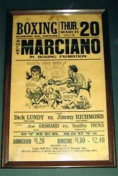 EXTREMELY RARE 1952 WORLD CHAMPION ROCKY MARCIANO onsite boxing poster JOE LOUIS $4000.00