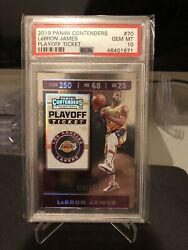 2019 20 Panini Contenders Playoff Ticket 199 LeBron James #70 PSA 10 GEM MINT $300.00