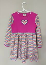 Hanna Andersson Girls Dress 110 US 5 Pink Orange Green Blue Striped Long Sleeve $17.99