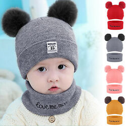 Toddler Kids Beanie Balaclava Cap Scarf Set Girl Boy Baby Winter Warm Knit Hat $8.79