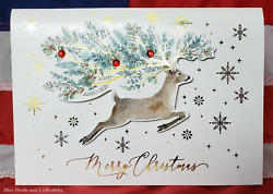 NEW Deluxe Embellished 12 Christmas Cards amp; Envelopes Merry Christmas Reindeer $16.95