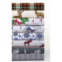 Cozy Flannel Novelty and Holiday Printed Extra Deep Pocket Holiday Bed Sheet Set $77.49