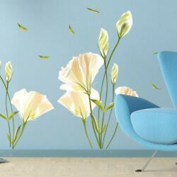 Removable Wall Stickers Lily Flower Rustic Bedroom Decal Mural Art Decor $8.35