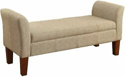 Lift Top Storage Bed Bench Cushioned Seat Ample Organizer Elegant Inspired Wood $300.52