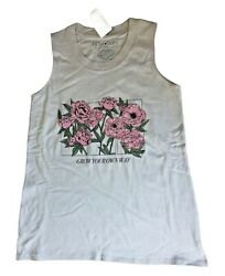 Fifth Sun Women#x27;s Gray Tank Top Shirt Gray Pink Floral Graphic Grow Your Own Way $9.93