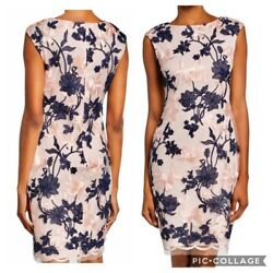 Donna Ricco Sheath Dress Pink Navy Embroidered Lace Cocktail 12 NWT$139 $34.99