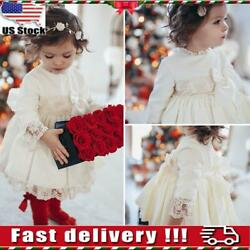 Baby Girls Christmas Vintage Party Lace Dress Long Sleeve Swing Princess Dresses $13.89