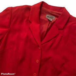 Vintage Womens L Dress Red Maxi Short Sleeve Button Front Lined Classic Large $29.97