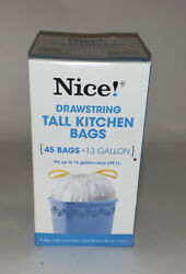 Nice Drawstring 45 Tall Kitchen Bags 13 Gallon $15.00