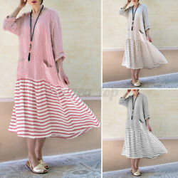 Womens Long Sleeve Kaftan Maxi Dresses Casual Holiday Dresses Laides Shirt Dress $16.73
