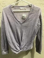 Lush Women's Large Long Sleeve Shirt V Neck Purple Lavender $15.99
