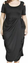 Plus Vogue Plus Size Women Draped Ruched Midi Dress Summer Cocktail Prom Party $13.79
