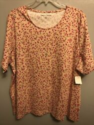 Rebecca Malone Women's NWT Scoop Neck T Shirt S S Beige Floral Plus Size 2X $11.99