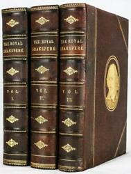 c.1860 The Royal Shakespeare Illustrated Large Leather Bindings 11quot; Tall $750.00
