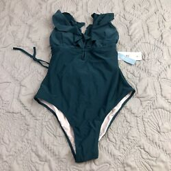 Cupshe SOLID High Leg RUFFLE PLUNGED ONE PIECE SWIMSUIT Blue Size Large $16.95