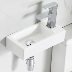 White Ceramic Mini Rectangle Wall Mount Bathroom Cloakroom Hand Wash Basin Sink $59.50