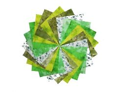 40 5 inch Quilting Fabric SHADES OF GREENquot;GREENDAYquot; 5 colors 8 each $11.49