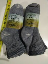 6 Pair Large Outdoor Life 71% Merino Wool Ankle Boot Socks First People Navy USA $29.99