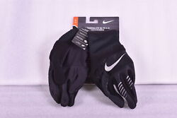 Men#x27;s Nike Therma fit Elite 2.0 Running Gloves Black w Silver Logo Small $17.99