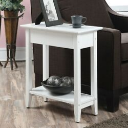 Modern Flip Top Side Accent Table Narrow Display Shelf Concealed Storage White $119.00
