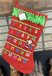 Adorable Target Red Advent Calendar Christmas Stocking with Santa Embellishments $11.95