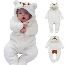 Newborn Baby Boy Girl Kids Bear Hooded Romper Jumpsuit Bodysuit Clothes Outfits $13.19
