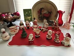 Santa Claus Mrs Claus Ceramic Vintage Christmas Decorations Ornaments Shakers $29.99